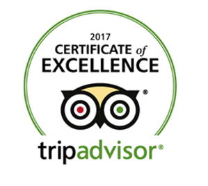 Badge provided by TripAdvisor indicating Fratelli Milano's has been awarded with the 2017 Certificate of Excellence